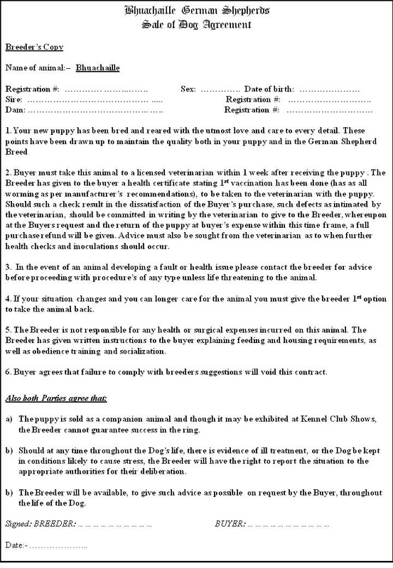 Puppy contract bhuachaille german shepherds for Dog breeding contract template